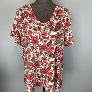 Philosophy Red White Floral V Neck Knit Top XXL